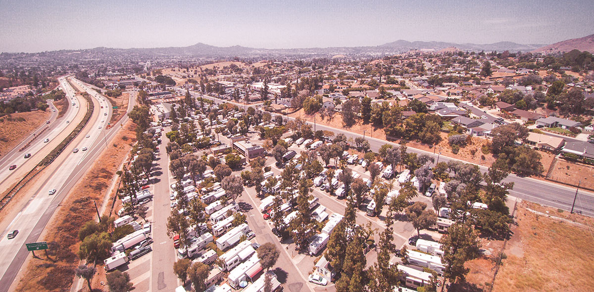 Sky view of Circle RV Resort in El Cajon